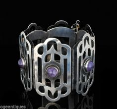 Massive Deco Silver and Amethyst Bracelet Early Wide
