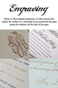 different styles of wedding stationery - engraving wedding invitation