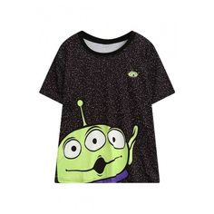 Three-Eye Alien Pattern Round Neck Short Sleeve Casual Loose T-Shirt ($23) ❤ liked on Polyvore featuring tops, t-shirts, round neck top, round neck t shirts, short sleeve tops, pattern t shirt and loose fit t shirts