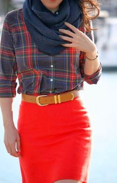#street #style fall / tartan print + red