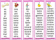 Montessori: pink, blue, green series for mobile letters or silent dictations - Kids Party Ideas French Worksheets, Script, Teaching French, Carafe, Literacy, Periodic Table, Letters, Cursive, Mobiles