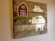 "Cow 20X20"",Rustic Wall Art on Wood,barn theme,Pallet art,Farm Animals,children art,Paintings,wooden planks,nursery decor,kids room,farmhouse on Etsy, $64.99"