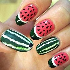 watermelon nails THE MOST POPULAR NAILS AND POLISH #nails #polish #Manicure #stylish