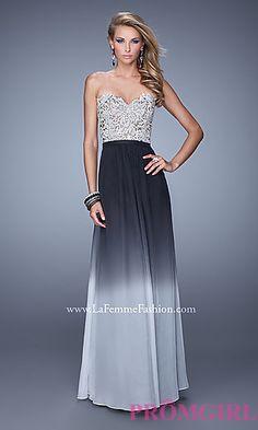 Strapless Ombre La Femme Prom Dress at PromGirl.com