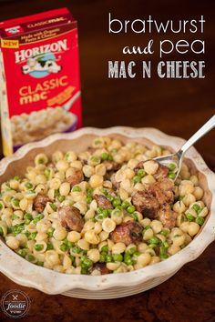Bratwurst and Pea Mac n Cheese | Self Proclaimed Foodie