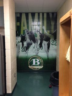 """Buford Basketball locker room - Wall graphic with """"Family"""" graphic"""