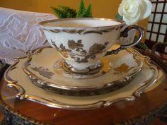 lindo e antigo trio chá alemão bavaria c/ decoração em prata