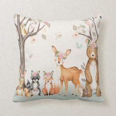 Shop Woodland Animals Baby Girl Nursery Boho Pillow created by CottageMoonDesign.