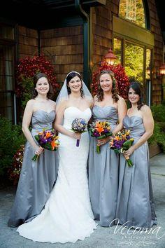 Gorgeous gray bridesmaids gowns!  #graywedding #graybridesmaids #graydresses