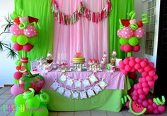 Watermelon Berry Birthday party dessert table by Partylicious