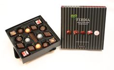 The Ferdia Luxury Dark Assortment contains a sublime selection of handmade chocolates crafted with our own specially blended couverture and the finest natural ingredients, carefully selected by our Chocolatiers.  Contains a mix of: Raspberry Ganache, Rustic Praline, 70% Truffle, Sea Salted Caramel, Dark Chocolate Placquette, Brandy & Fig Truffle, Exotic Ganache, Citrus Praline, Gianduja Raspberry Ganache, Chocolate Crafts, Sea Salt Caramel, Handmade Chocolates, Beautiful Gift Boxes, Truffles, Fig, Exotic, Luxury