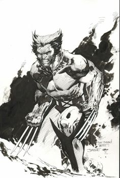 A Wolverine from Jim Lee. That background brushwork is totally sweet :)