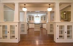 glass front built ins with columns