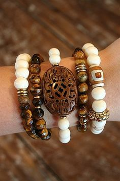 Liv-N-Grace Jewelry - Ivory + Tigers Eye 5 Strand Bracelet Set