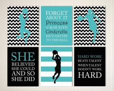 Inspirational quote art, girls quotes wall art, basketball girl, basketball wall art, basketball player, sports art for girls, set of 4 by PicabooArtStudio #basketballquotes