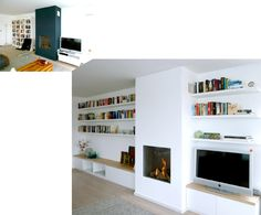 Fireplace with book shelffireplace Living Room Storage, My Living Room, Living Room Interior, Home And Living, Living Spaces, Home Fireplace, Fireplace Design, Fireplaces, Style At Home