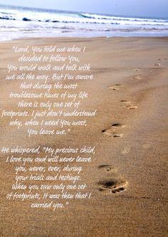 Footprints In The Sand Poem Printable Version Footsteps