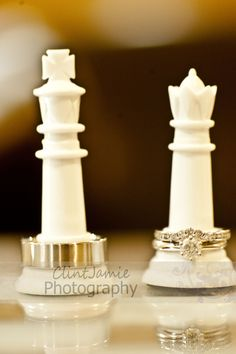 Wedding rings... I love this idea even though I don't even know how to play Chess but I still love it being the King & Queen pieces