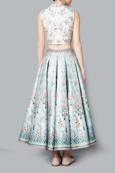 Aditri Crop Top and Skirt - Tops & Skirts - Woman Indian Skirt And Top, Long Skirt And Top, Indian Wedding Outfits, Indian Outfits, Mehendi Outfits, Bollywood Outfits, Lehenga Designs, Sharara Designs, Crop Top Outfits