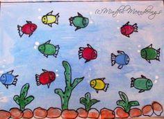Fingerpaint an aquarium Finger Paint Art, Finger Painting For Kids, Finger Art, Drawing For Kids, Summer Crafts For Kids, Art For Kids, Auction Projects, Art Projects, Thumb Painting