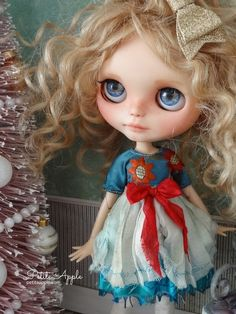 Blythe doll OOAK outfit *Sunrise* pure silk vintage style dress