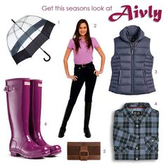 Aivly Loves:  1. Hunter Bubble Umbrella in Black - http://www.aivly.co.uk/product_55037.htm  2. Rugged Horse Venus Navy Breeches - http://www.aivly.co.uk/product_45779.htm  3. Musto Hartland Gilet in Navy - http://www.aivly.co.uk/product_60546.htm  3. Musto Plaid Shirt in blue slate - http://www.aivly.co.uk/product_60555.htm  5. Dubarry Dunbrody Wallet - http://www.aivly.co.uk/product_DUB00883.htm  6. Hunters Original Gloss in Dark Ruby - http://www.aivly.co.uk/product_55009.htm