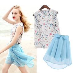 Beige Round Neck Sleeveless Floral Print Button Blouse With Blue Bow Chiffon Skirt Two Pieces