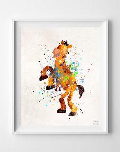 Bullseye Print, Toy Story, Disney art, Watercolor Art, Pixar, Illustration, Wall art, Home Decor, Fathers Day Gift by InkistPrints on Etsy https://www.etsy.com/listing/263299674/bullseye-print-toy-story-disney-art