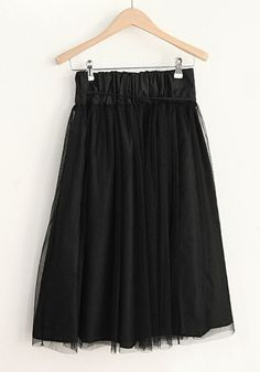 Black Elastic Waist Belt Below Knee Cotton Skirt
