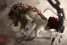 Unchained by runandwine on DeviantArt Pet Anime, Anime Animals, Fantasy Wolf, Fantasy Art, Fantasy Creatures, Mythical Creatures, Anime Wolf Drawing, Cartoon Wolf, Demon Wolf