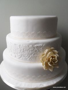 photos of three tier wedding cakes | ... Ivory Rose and Lace Three Tier Wedding Cake | Flickr - Photo Sharing
