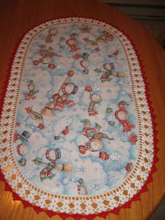 Aunt Roo's Snow Show Snowman fabric table runner w/ by auntroo, $22.00