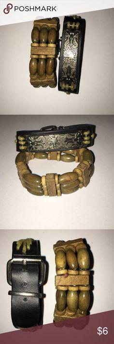 2 bracelets wooden and leather 2 bracelets one with wooden beads and the other with leather and silver design  bundle and save  Jewelry Bracelets