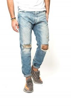 Blue Ripped Knee-Cut Jeans