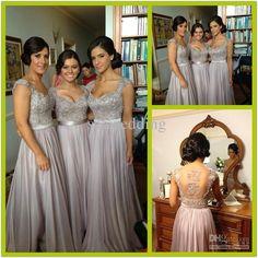 2014 New Silver Grey Bridesmaid Dresses Long Chiffon Bridesmaid Dress Appliques Sheer Back Short Sleeves Evening Gowns Bridesmaids Dresses