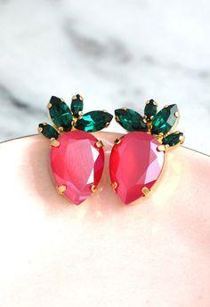 Strawberry Earrings Strawberry Jewelry Red Green Earrings Green Earrings, Girls Earrings, Crystal Earrings, Girls Jewelry, Bridal Jewelry, Jewelry Gifts, Stylish Jewelry, Fine Jewelry, Gold Jewellery