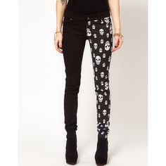Tripp NYC Jeans With Split Leg Skull Print ($76) ❤ liked on Polyvore
