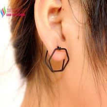 wholesale punk style fashion simplicity gold/silver/black copper open hexagon geo ear stud earring for women bijoux brincos(China (Mainland))
