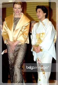 2002 Belgian Lifestyle Gala Night at the Otani hotel in Tokyo, Japan Queen And Prince Phillip, Gala Gowns, Kaiser, Royal Fashion, Belgium, Kimono, Japanese, Princess, Womens Fashion