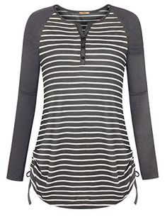 Casual Striped Shirts for WomenMCKOL Ladies Long Sleeve Henley Neck Drawstring Sides Shirring Stretchy Knitted Tunic Tops Grey WhiteXLarge *** See this great product. (This is an affiliate link) Modest Outfits, Cool Outfits, Casual Outfits, Fashion Outfits, Casual T Shirts, Cool Shirts, Blouses For Women, T Shirts For Women, Stylish Dresses