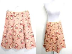 Spring Sale: rose taupe floral A line skirt (medium; 28 inches) by VintageHomage