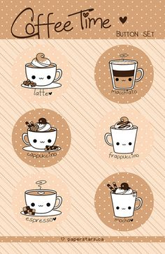 Image shared by GabrielleSparkly. Find images and videos about cute, kawaii and drawing on We Heart It - the app to get lost in what you love. Doodles Kawaii, Kawaii Chibi, Cute Doodles, Kawaii Art, Kawaii Stuff, Kawaii Things, I Love Coffee, Coffee Time, Coffee Coffee