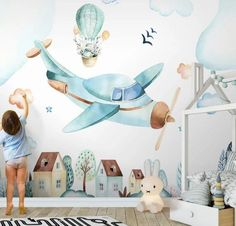 Kids, Watercolor, Aircraft Wallpaper-Nursery Wallpaper Removable Wallpaper-Peel and stick Wall Mural,Playroom Wallpaper Wall decor Kinder Aquarell Flugzeuge Tapete Kinderzimmer Tapete Playroom Wallpaper, Nursery Wallpaper, Kids Wallpaper, Baby Room Decor, Nursery Decor, Nursery Wall Murals, Kids Wall Murals, Murals For Kids, Kids Watercolor