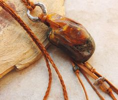 Large Hand Polished Raw Amber Pendant with Fine by deserttalismans