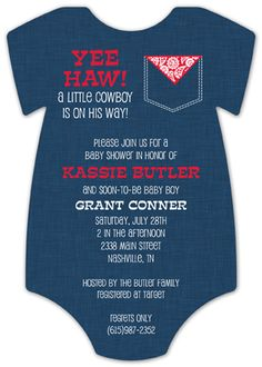 Die-cut invitations are all the rage, as they take the classic invitation and level it up in design. Are you looking for a particular baby shower theme? Because our cowboy baby shower invitations are rip, roaring and ready to go! Yeehaw! Especially the Cowboy Cutie Onesie Invitation by Polka Dot Design Digital. This creative and inspired invitation takes shape of an actual baby onesie, but adds a bit more flare and character, to boot. With a denim-colored design as the backdrop, and red and…