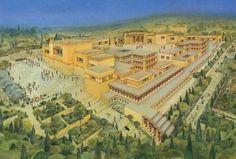 Artist's reconstitution of Knossos palace complex, Minoan civilization, Crete