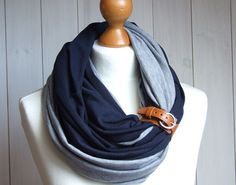 Circular infinity scarf with leather cuff fall fashion by Zojanka, $29.90