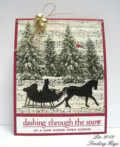 Christmas card ... Dashing through the Snow by quilterlin ... luv the stamping on the music score paper background ... sleigh ride silhouette ...