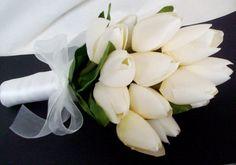 Wedding Bridal Bouquet silk Wedding Flowers Tulips cheap bouquets bridal party accessory. $31.95, via Etsy.
