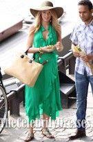 Blake Lively Green Ankle-length Chiffon Celebrity Evening Prom Dress.$139.99